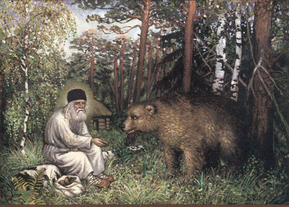 St. Serpahim of Sarov Feeds a Wild Bear
