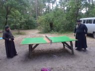 Monks Enjoying Ping Pong